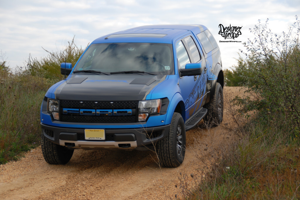 Blue Raptor off roading