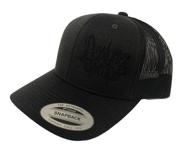 Shop Solid Black with Black Logo Snapback